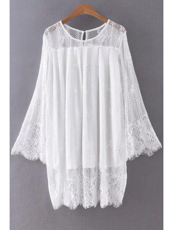 Vestido Escotado con Encaje con Manga Larga - Blanco S