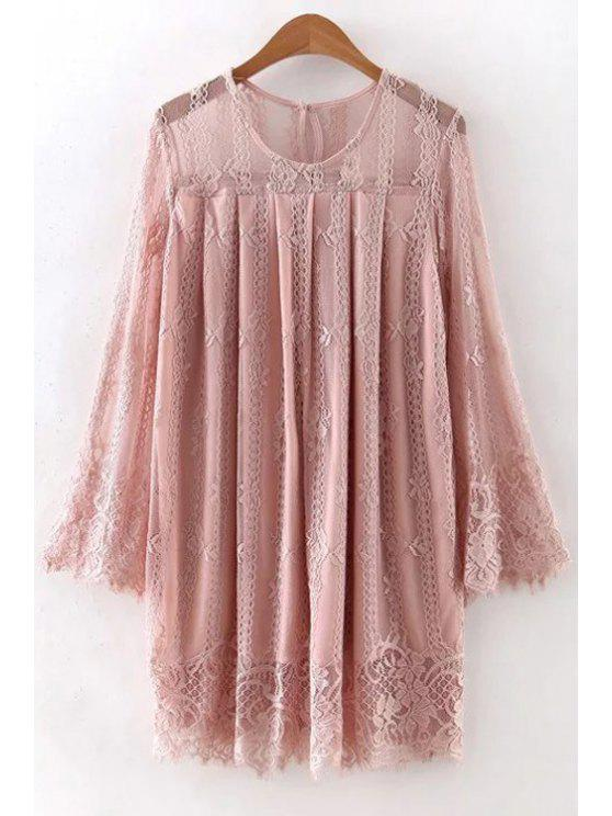 outfit Hollow Out Long Sleeve Lace Dress - PINK S
