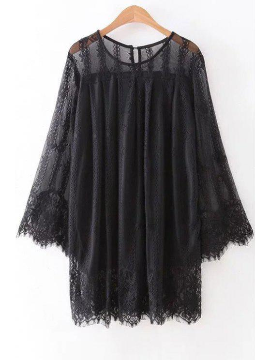 new Hollow Out Long Sleeve Lace Dress - BLACK M