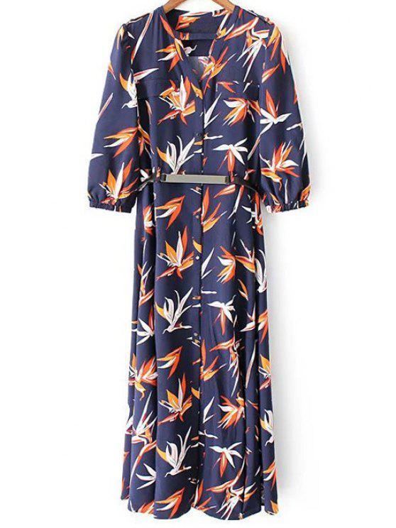 Robe imprimée fleur à manche 3/4 avec fente haute - Bleu Foncé M
