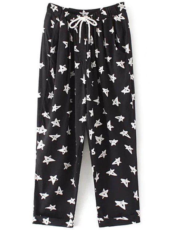 shop Drawstring Pentagram Print Pants - BLACK S