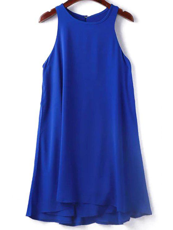 outfit Solid Color Sleeveless Round Collar Dress - SAPPHIRE BLUE S