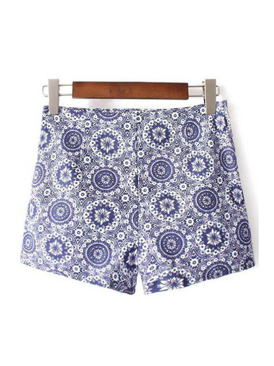 unique Ethnic Style Printed High Waist Shorts - BLUE S