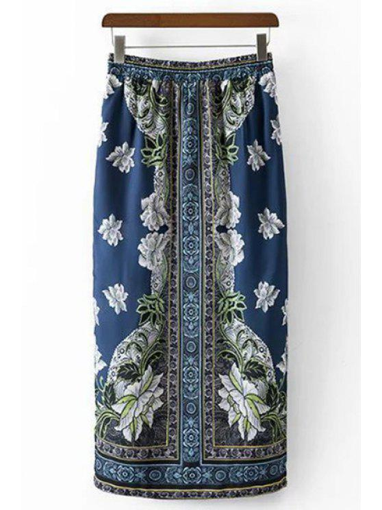 women Ethnic Style Printed High Waist Skirt - BLUE L