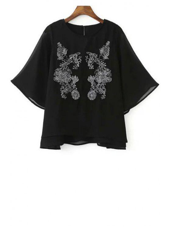 women Embroidered Round Neck Bat-Wing Sleeve Chiffon Blouse - BLACK S