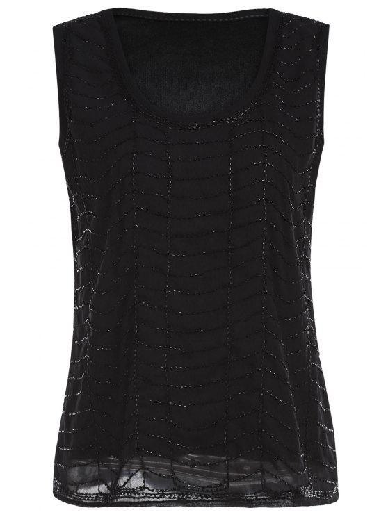 Negro con cuentas de cuello redondo sin mangas - Negro Un tamaño(Montar tam