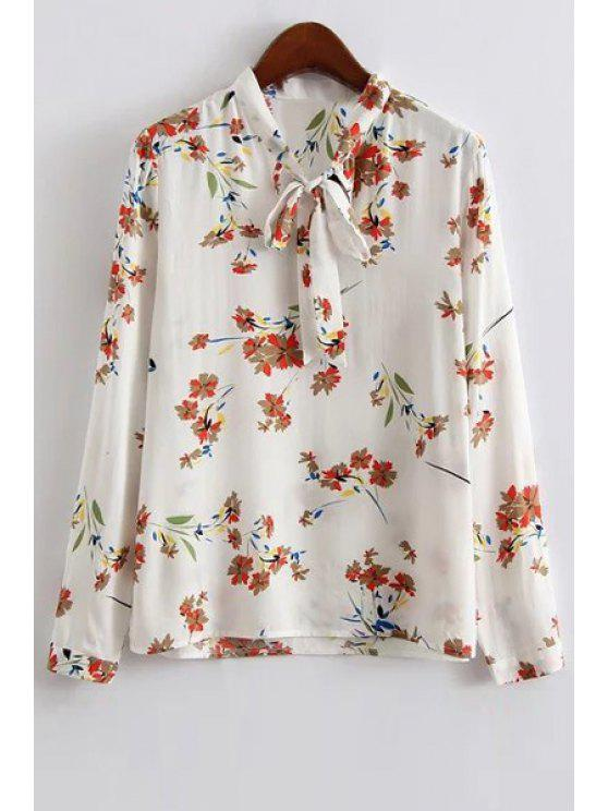 women Floral Print Long Sleeve Bow Tie Collar Blouse - WHITE S
