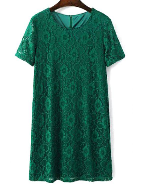 women's Solid Color Short Sleeve Round Collar Lace Dress - GREEN L