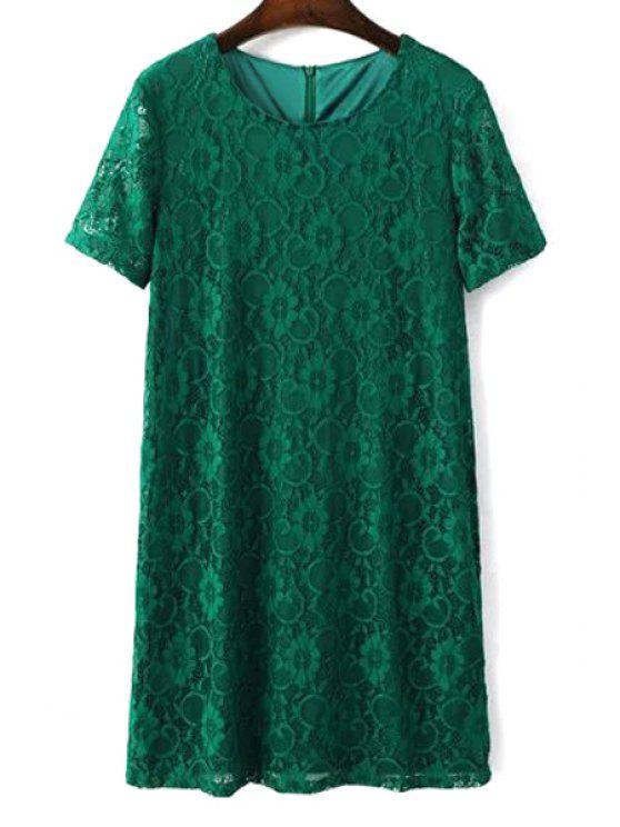 Vestido de encaje sólido de color collar corto de manga Ronda - Verde L