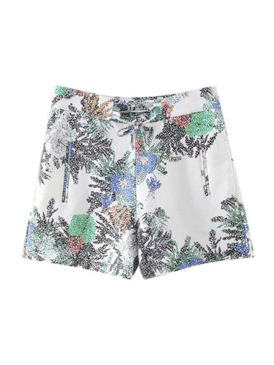 chic Printed Casual Pockets Shorts - WHITE L