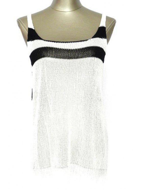 latest Striped Scoop Neck Cover Up - WHITE ONE SIZE(FIT SIZE XS TO M)