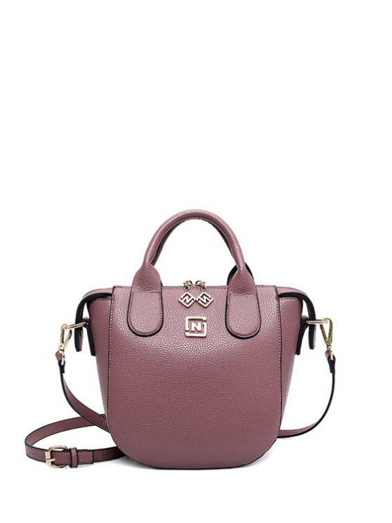 Cuero de la PU del color sólido de la bolsa de asas - Púrpura