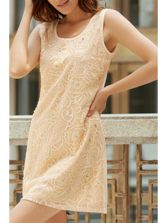Blumenstickerei-Rundhalsausschnitt ärmelloses Kleid - Aprikose Einheitsgröße(Geeign