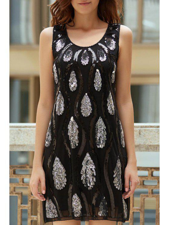 unique Feather Pattern Sequined Scoop Neck Sleeveless Dress - BLACK ONE SIZE(FIT SIZE XS TO M)
