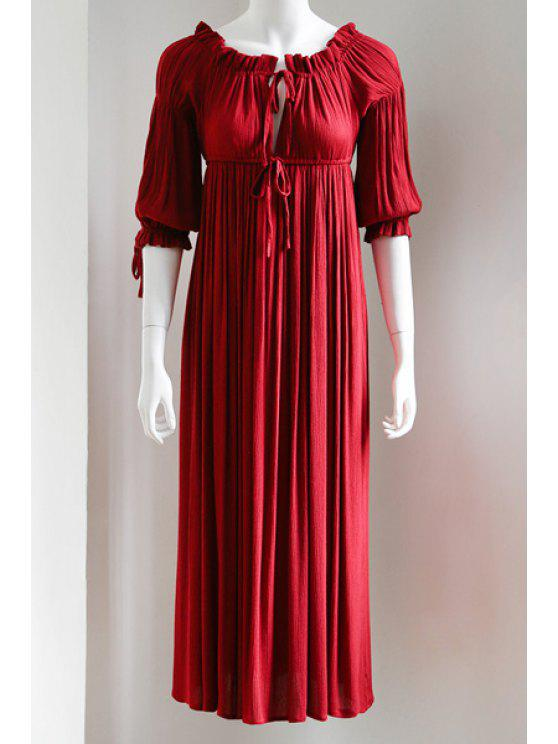 Drawstring 3/4 Sleeve Red Dress - Vermelho M