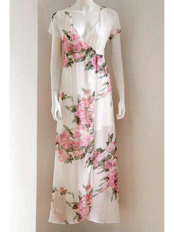 womens Floral Print Plunging Neck Short Sleeve Maxi Dress - WHITE L