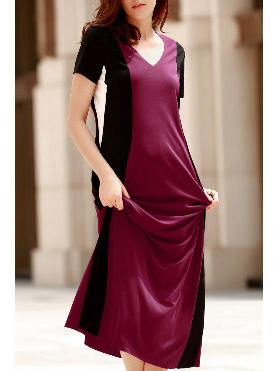 trendy Color Block V Neck Short Sleeve Maxi Dress - RED M