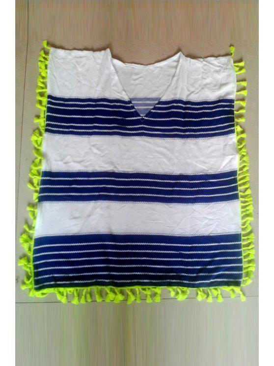 best Striped V-Neck Sleeveless Cover Up - WHITE ONE SIZE(FIT SIZE XS TO M)