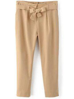 Soild Color Belted High Waist Pant - Khaki M