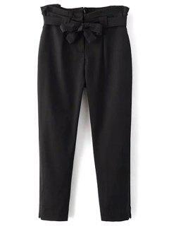 Soild Couleur Ceinturée Taille Haute Pant - Noir L