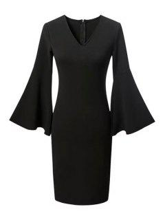 Fitted Solid Color V Neck Flare Sleeve Dress - Black L