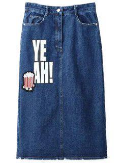Lettre équipée Imprimer Jupe Taille Haute En Denim - Bleu Foncé L