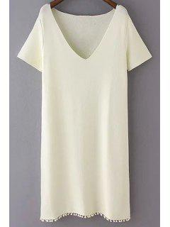 Solid Color Fitting Plunging Neck Short Sleeve Dress - Off-white L