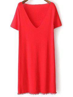 Robe Crochet Couleur Pure Col Plongeant Manches Courtes - Rouge L