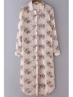 Floral Print Shirt Collar Long Sleeve Shirt Dress - Apricot M
