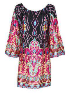Flare Sleeve Printed Peasant Dress - L