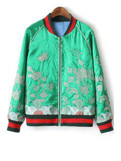 Floral Embroidery Stand Neck Long Sleeve Jacket - Green L