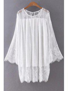 Hollow Out Long Sleeve Lace Dress - White L