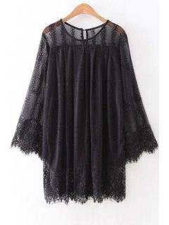 Hollow Out Long Sleeve Lace Dress - Black L