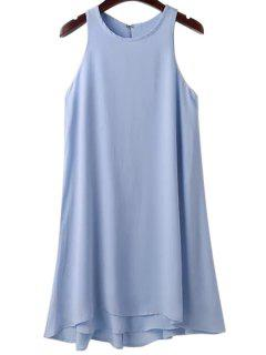 Solid Color Sleeveless Round Collar Dress - Light Blue M