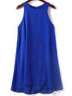 Solid Color Sleeveless Round Collar Dress - Sapphire Blue M