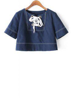 Lace Up Round Collar Short Sleeve T-Shirt - Deep Blue L