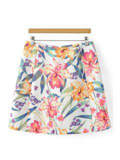Floral PrintHigh Cintura Una Línea De Falda - Blanco L