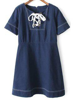 Strappy Round Collar Short Sleeve Dress - Deep Blue L