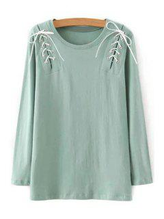 Solid Color Lace-Up Round Neck Long Sleeve T-Shirt - Light Green L