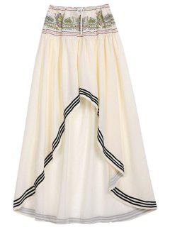 High Low Hem Drawstring Skirt - Off-white L