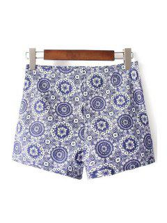 Ethnic Style Printed High Waist Shorts - Blue 2xl