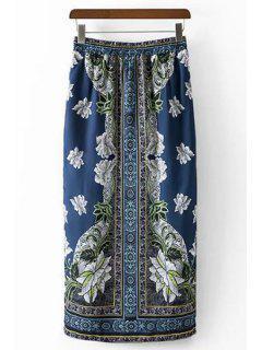 Style Ethnique Imprimé Jupe à Taille Haute - Bleu L
