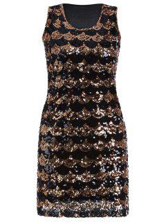 Fitted Sequined Round Neck Sleeveless Dress - Golden