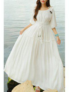 Lace Up Scoop Neck Half Sleeve Maxi Dress - White L