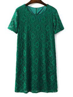 Solid Color Short Sleeve Round Collar Lace Dress - Green Xl