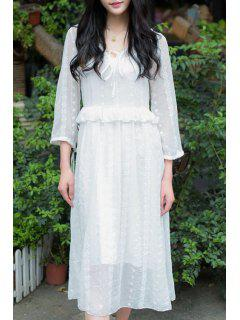Embroidery V Neck 3/4 Sleeve Dress And Cami Dress Twinset - White L