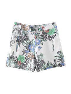 Imprimés Pockets Casual Shorts - Blanc M