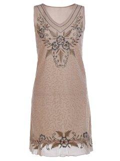 Ethnic Style Embroidered V Neck Sleeveless Dress - Apricot