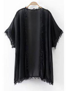 Tassels Spliced Half Sleeve Kimono Blouse - Black L