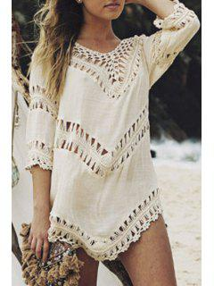 V-Neck Crochet Blouse - Apricot